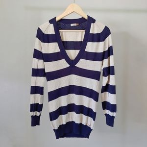 Aritzia Wilfred V-Neck Striped Knit Sweater XS